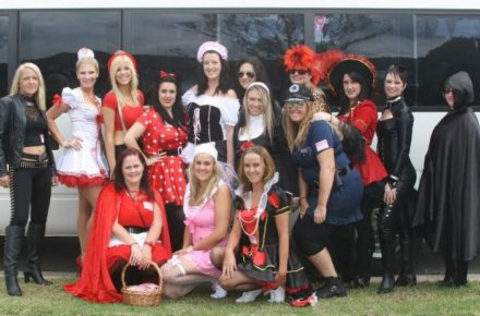Hens costume ideas - a group of hens dressed up in colourful fancy dress before their Hens Treasure Hunt.