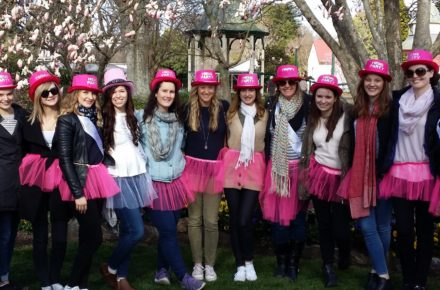 Hens party in Bowral with pink tutus and pink hats. Gorgeous hens theme! Great hens weekend idea too.