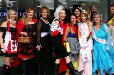 Hens party in colourful costumes